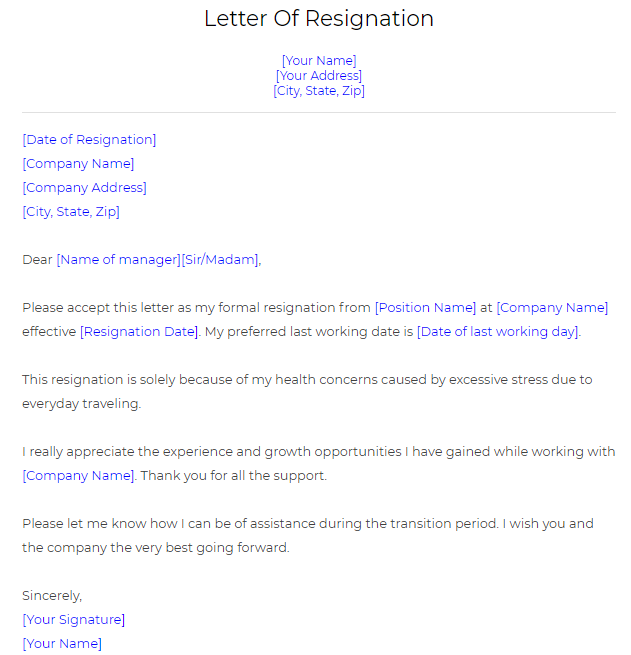 Employment Resignation Letter Template from emailformat.in