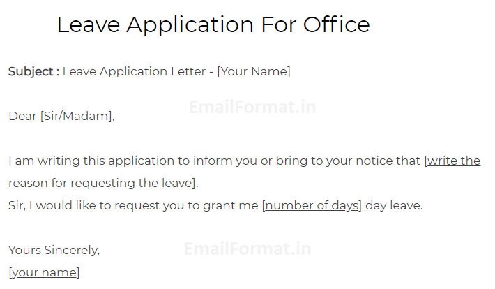 Leave Application For Office Application For Leave In Office
